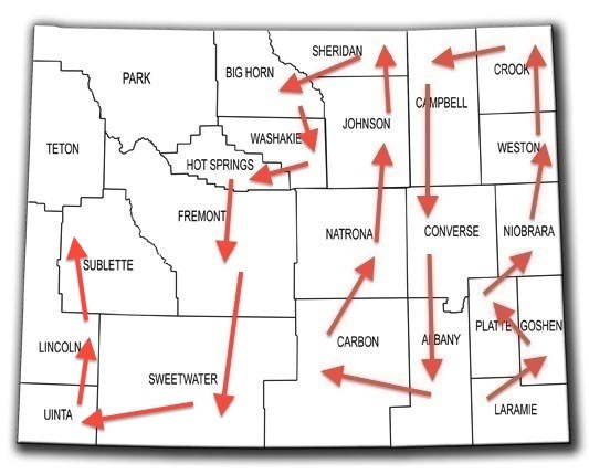 Lincoln County Wyoming Map.Wyoming Lincoln County Every County